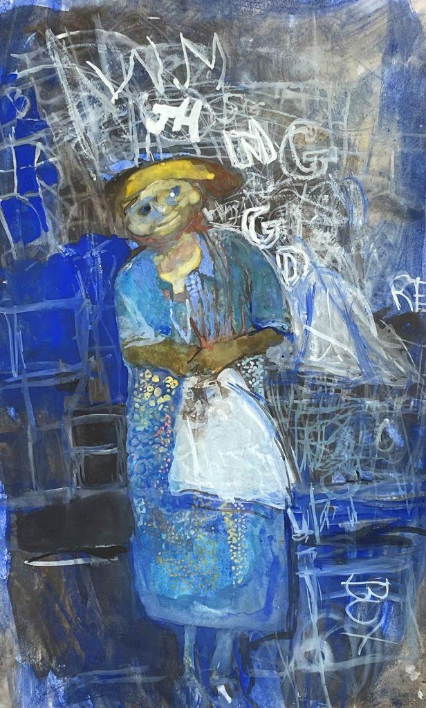 Joan Eardley, Girl and Chalked Wall,