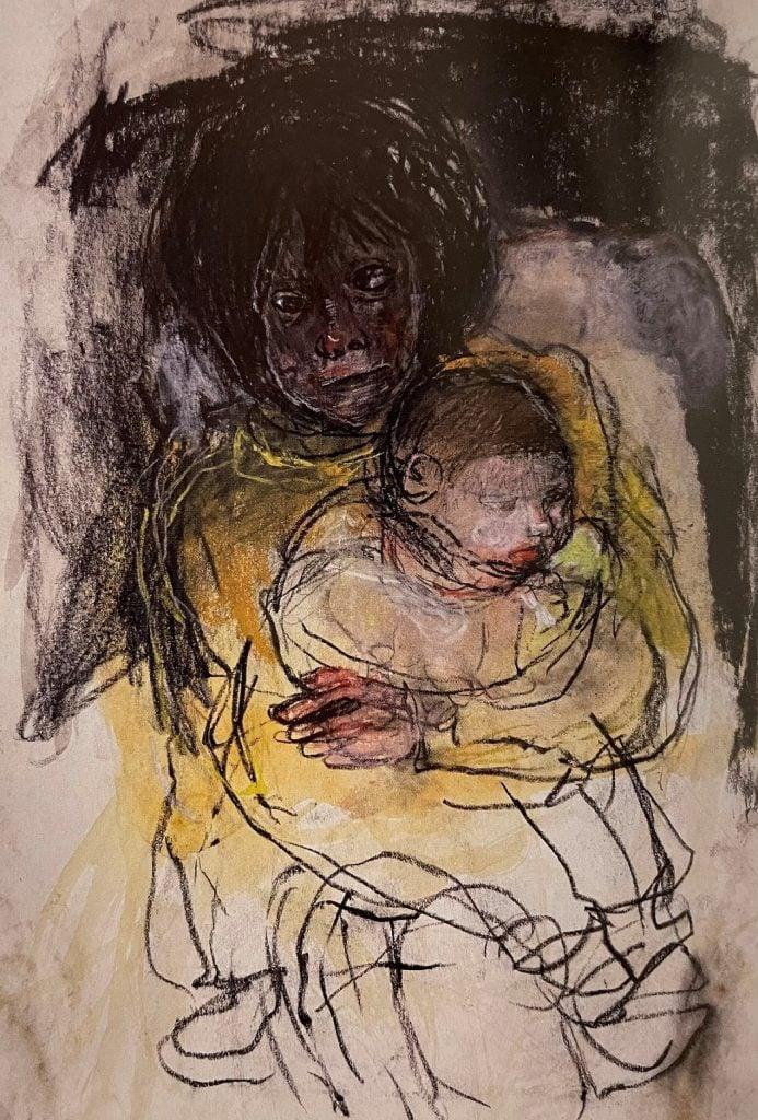 Joan Eardley, Girl in Yellow Holding Baby, c. 1959-63,