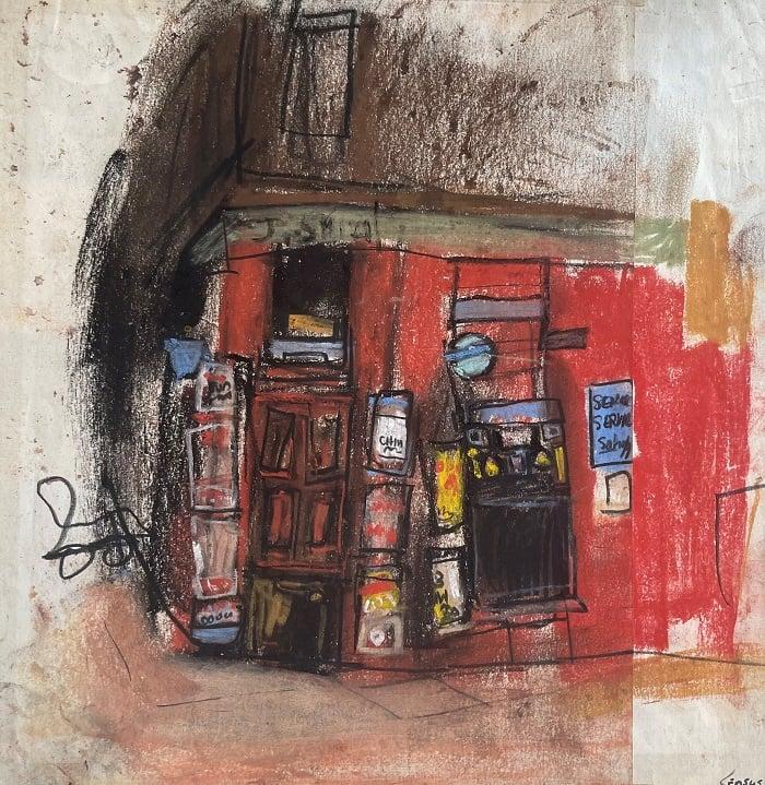 Joan Eardley, Glasgow Corner Shop, 1955-60,