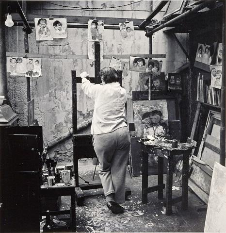 Joan Eardley in Townhead Studio. Photograph by Audrey Walker.