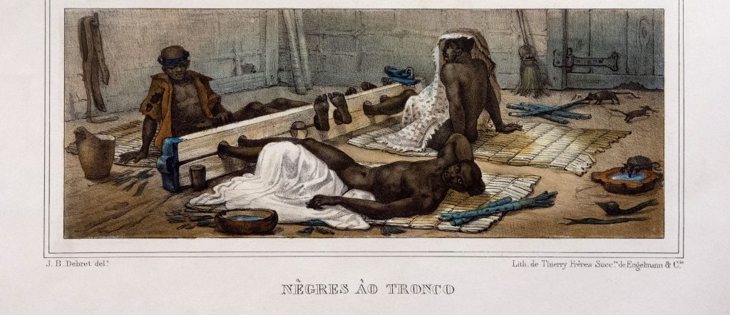 Review of the Slavery Exhibition at Rijksmuseum. Enslaved people, constrained in foot stocks, Jean Baptiste Debret., c. 1830. Rijksmuseum, Amsterdam, Netherlands.