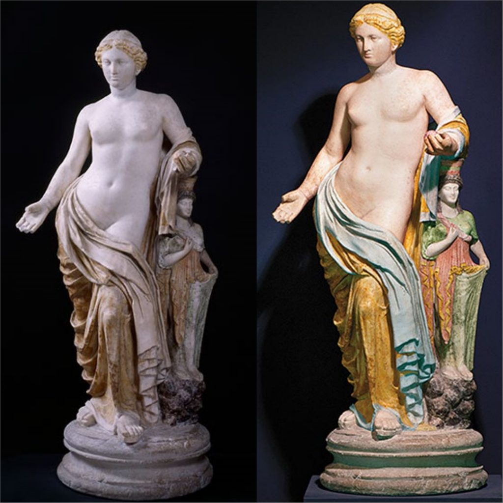 ancient sculptures colors. Venus Lovatelli from Pompeii, 1st century CE, National Archaeological Museum, Naples, Italy. Vinzenz Brinkmann, Ulrike Koch-Brinkmann, Colorized replica of Venus Lovatelli from Pompeii, Polychromy Research Project