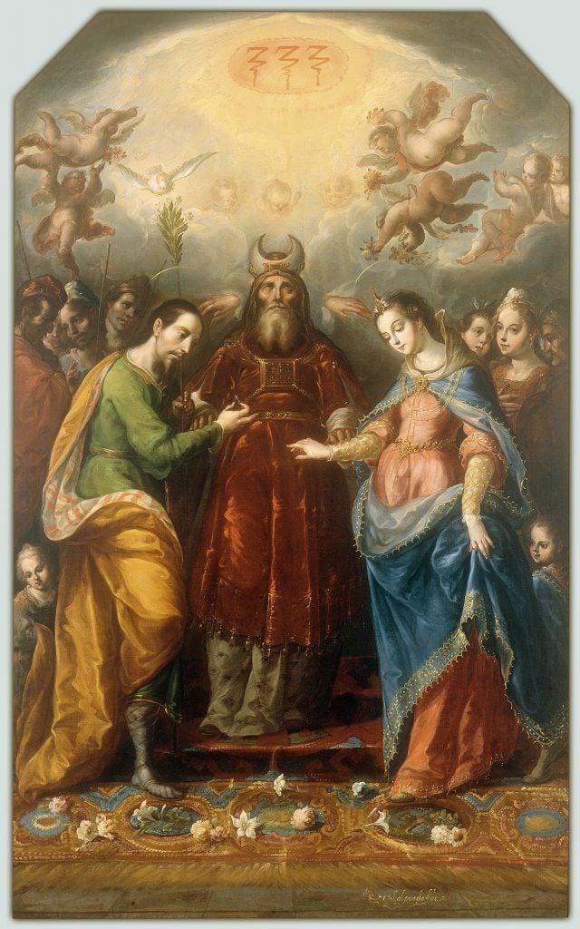 Mexican color. Cristóbal de Villalpando, The Betrothal of the Virgin to Saint Joseph, ca. 1705-1714, National Museum of Art, Mexico City, Mexico.