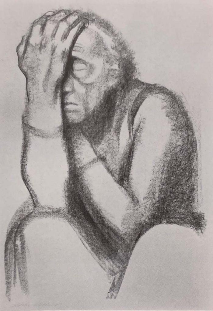 käthe kollwitz art, Woman thinking, 1920.