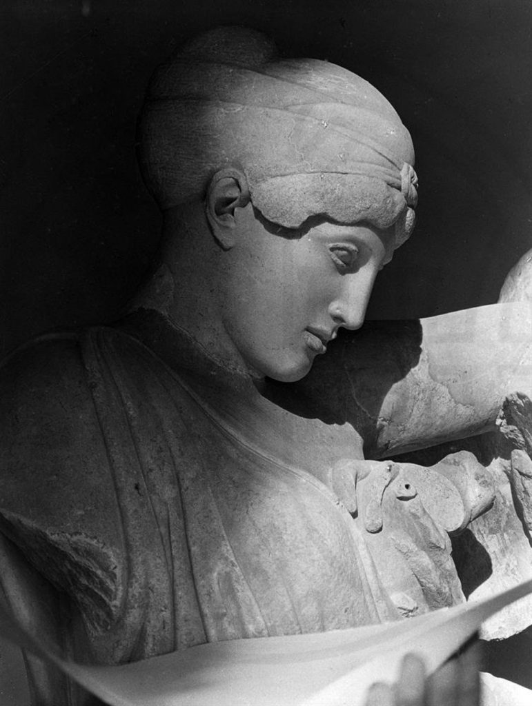 Nelly, Head of a female Lapith from the scene of the Battle of Centaurs, Temple of Zeus, Olympia, 1930s, Benaki Museum, Athens, Greece.