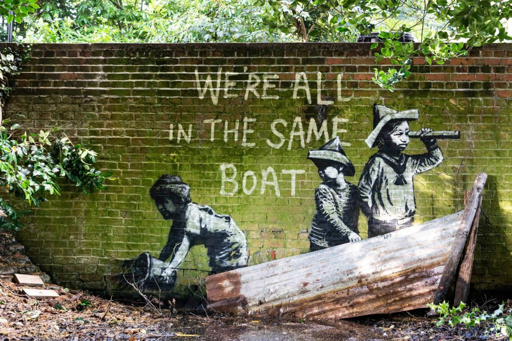 Banksy city guide 2021: Banksy, We're all in the same boat, 2021