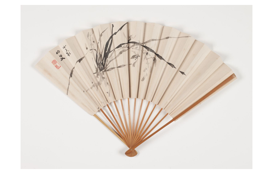 Noguchi Shōhin, Orchids, paper fan, Indianapolis Museum of Art, Indianapolis, IN, USA.
