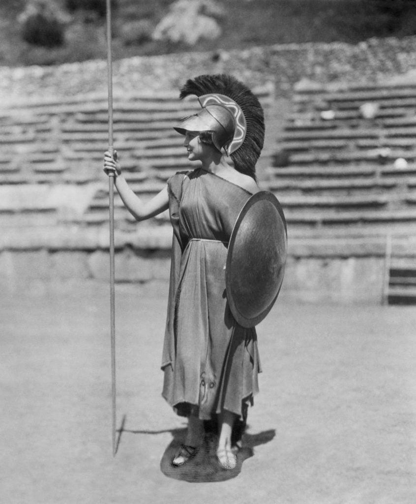 Nelly, Aliki Diplarakou (Miss Europe 1930) as Athena, Second Delphic Festival, 1930, Benaki Museum, Athens, Greece.