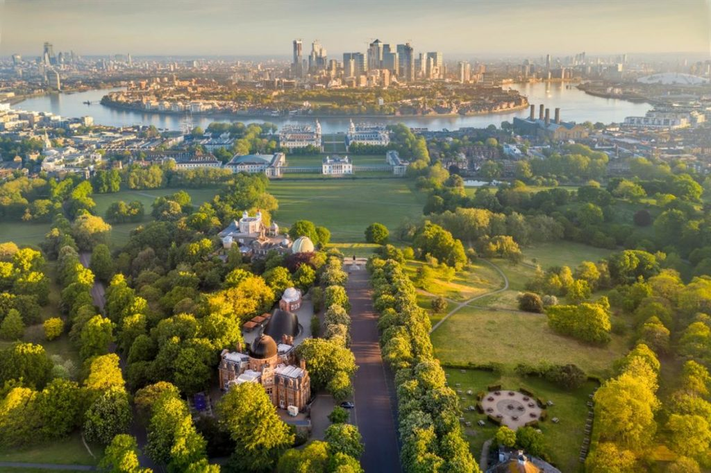 Overview of the Greenwich Park in London, UK. London Art Museums