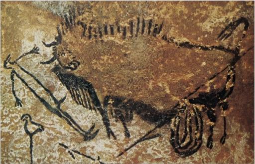 Bison and Bird-Headed Human Figure, c. 16,000-14,000 BCE, Lascaux Cave, Montignac, France