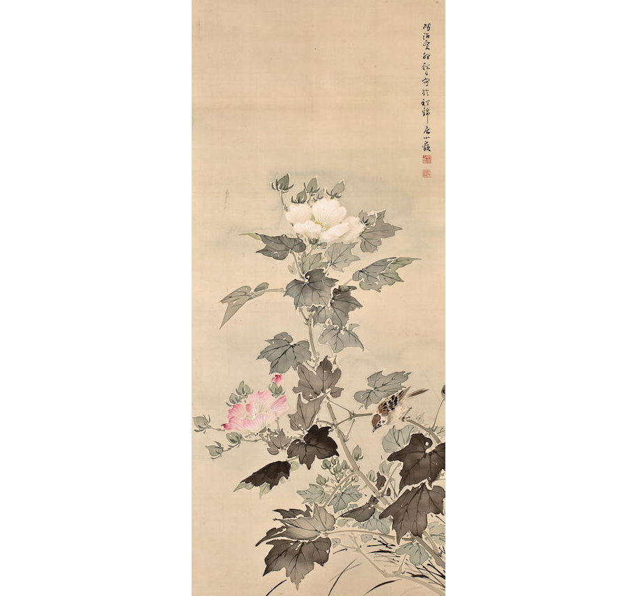 Noguchi Shōhin, Peonies and Sparrow, hanging scroll, private collection.
