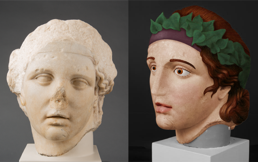 ancient sculptures colors. Head of Bacchus, 2nd century BCE, Colorized version of Head of Baccus, Kelsey Museum of Archaeology, Michigan, USA.