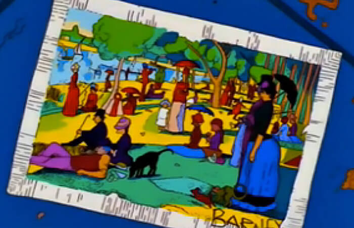 Art reference to Georges Seurat's A Sunday Afternoon on the Island of La Grande Jatte in The Simpsons, S10E19.