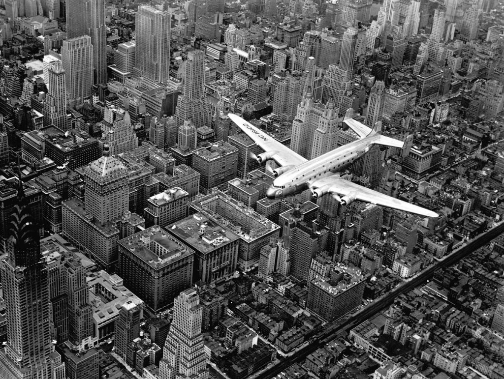 Margaret Bourke-White, a view of an airplane flying over Manhattan, 1939. The LIFE Picture Collection via Getty Images.
