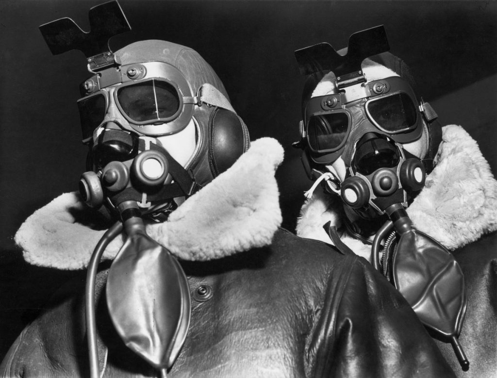 Margaret White-Bourke, two fliers of the 8th Bomber Command clad in high altitude flying clothes, 1942. The LIFE Picture Collection via Getty Images.