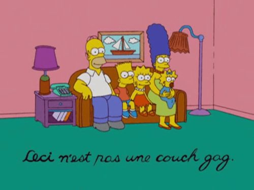 Art reference to René Magritte's The Treachery of Images in The Simpsons, S19E11.