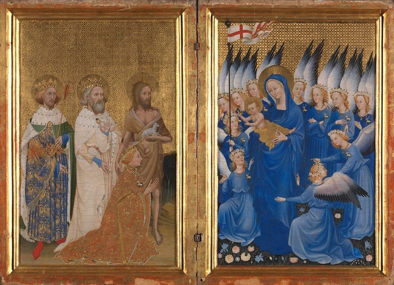 Richard II presented to the Virgin and Child by his Patron Saint John the Baptist and Saints Edward and Edmund (The Wilton Diptych), c. 1395-9, National Gallery, London, UK.