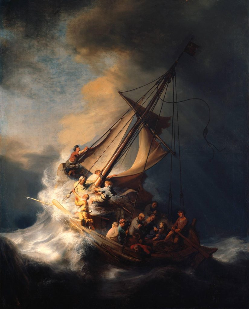Rembrandt van Rijn, Christ in the Storm on the Sea of Galilee, 1633, currently lost, stolen from Isabella Stewart Gardner Museum in Boston in 1990. Source: Isabella Stewart Gardner Museum