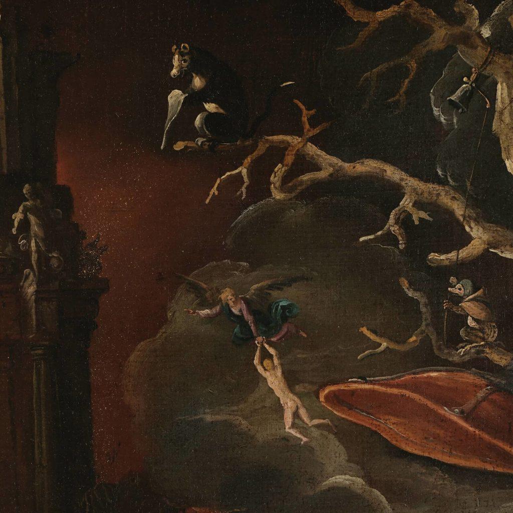 Jacob Isaacsz van Swanenburgh, Aeneas Taken by the Sibyl to the Underworld, 17th century, Musées royaux des Beaux-Arts de Belgique, Brussels, Belgium. Detail of Angel.