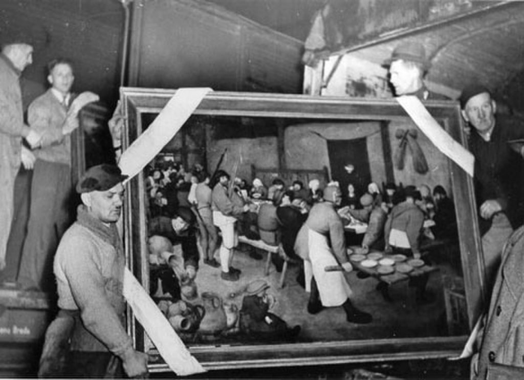 art heists During the recovery of Pieter Bruegel the Elder's The Peasant Wedding, from the Altaussee salt mine, 1945, Source: Wikimedia Commons, Public Domain