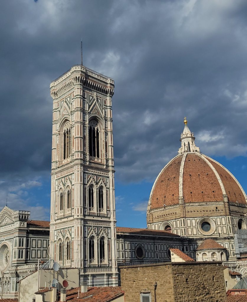 Campanile and Brunelleschi's Dome in 2021, Florence, Italy.
