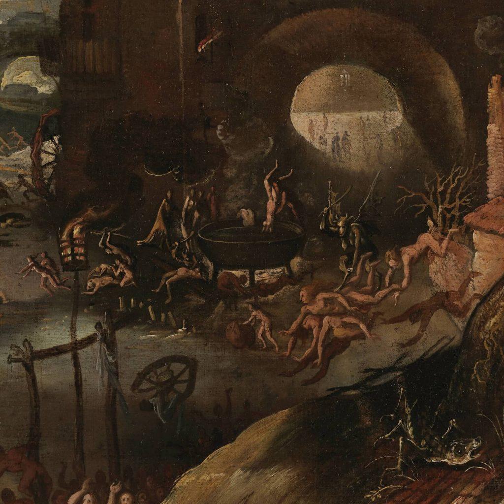 Jacob Isaacsz van Swanenburgh, Aeneas Taken by the Sibyl to the Underworld, 17th century, Musées royaux des Beaux-Arts de Belgique, Brussels, Belgium. Detail of Cooking Pot.