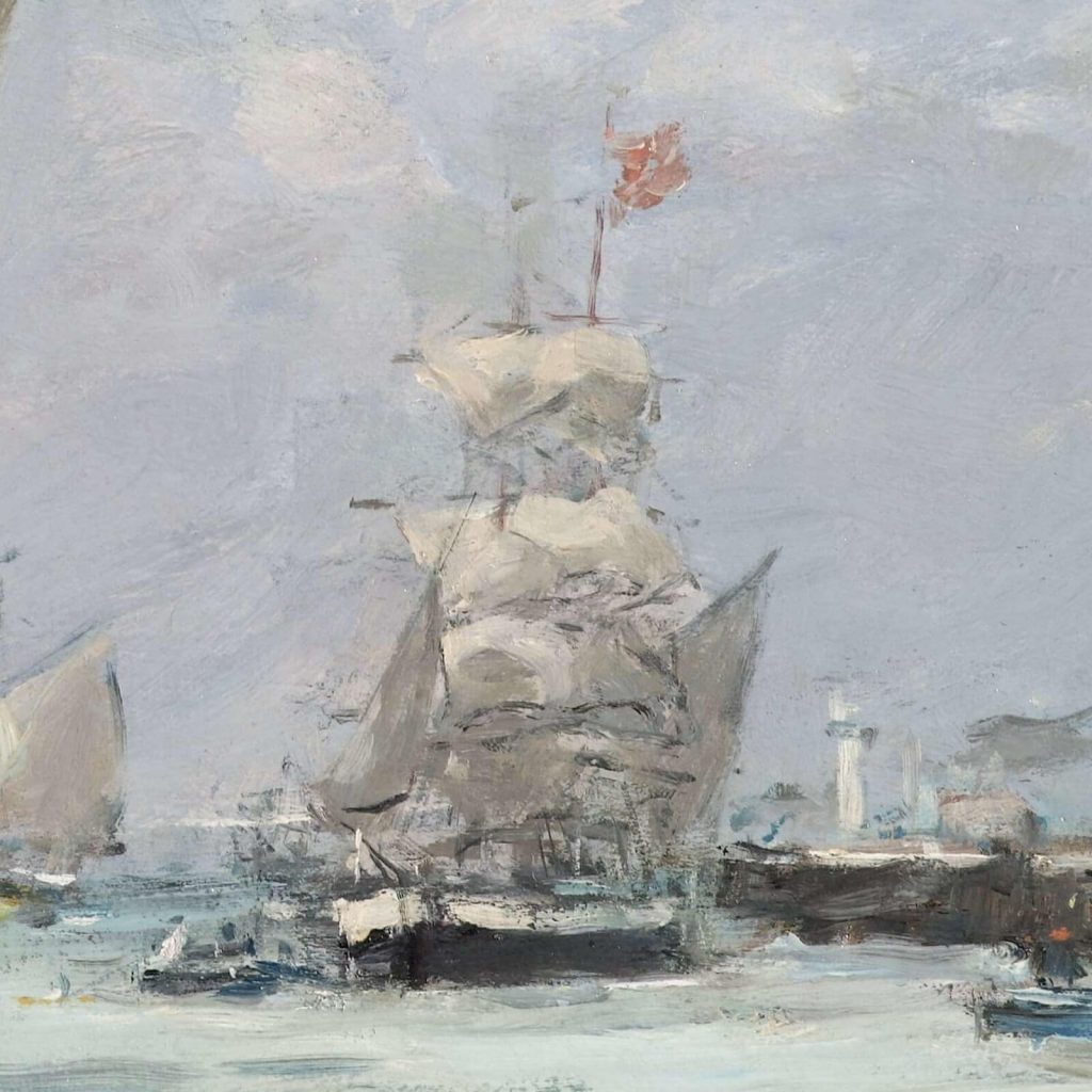 Eugène Boudin, Trouville, Jetties, High Tide, 1876, North Carolina Museum of Art, Raleigh, USA. Detail of Midground Brown Boat.