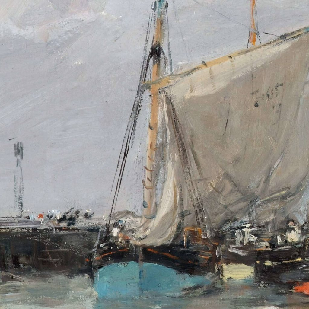 Eugène Boudin, Trouville, Jetties, High Tide, 1876, North Carolina Museum of Art, Raleigh, USA. Detail of Foreground Blue Boat.