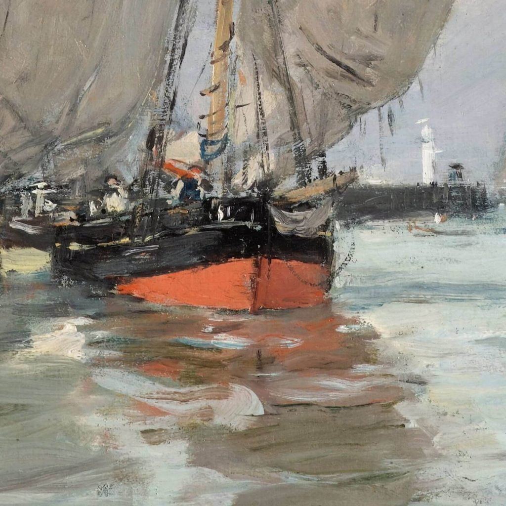 Eugène Boudin, Trouville, Jetties, High Tide, 1876, North Carolina Museum of Art, Raleigh, USA. Detail of Foreground Red Boat.
