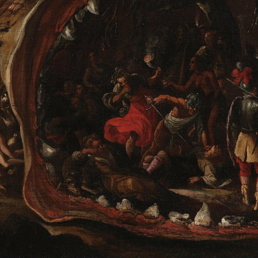 Jacob Isaacsz van Swanenburgh, Aeneas Taken by the Sibyl to the Underworld, 17th century, Musées royaux des Beaux-Arts de Belgique, Brussels, Belgium. Detail of Christian Sins.