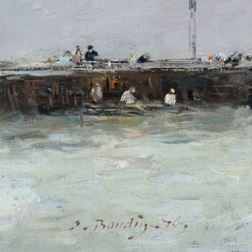 Eugène Boudin, Trouville, Jetties, High Tide, 1876, North Carolina Museum of Art, Raleigh, USA. Detail of Left Jetty and Boudin's Signature.