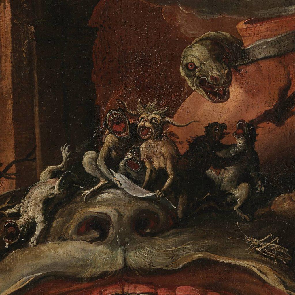 Jacob Isaacsz van Swanenburgh, Aeneas Taken by the Sibyl to the Underworld, 17th century, Musées royaux des Beaux-Arts de Belgique, Brussels, Belgium. Detail of Locust.