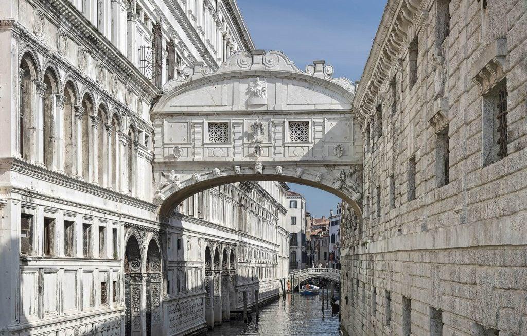 The Bridge of Sighs on Rio del Palazzo, Venice, Italy.