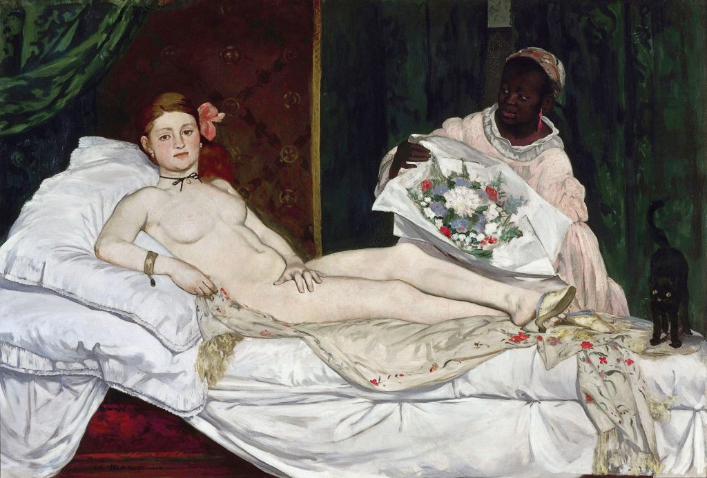 suzanne Valadon nude, A white woman reclines on a bed and stares out at the viewer. She has a flower in her hair, a choker, and wears heels. A red curtain is behind her and a cat in a frightened pose at her feet. A Black woman and maid presents her with flowers.