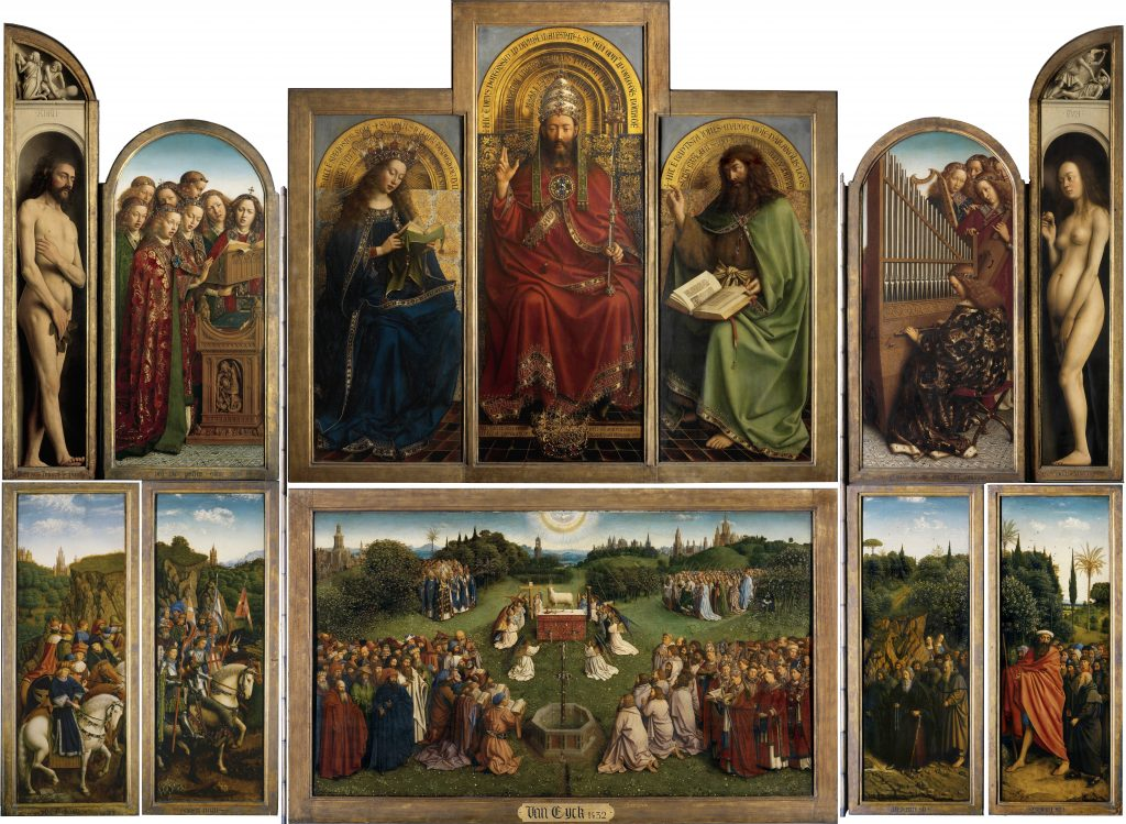 Hubert and Jan van Eyck, Ghent Altarpiece or the Adoration of the Mystic Lamb, completed 1432, St Bavo's Cathedral, Ghent, Belgium