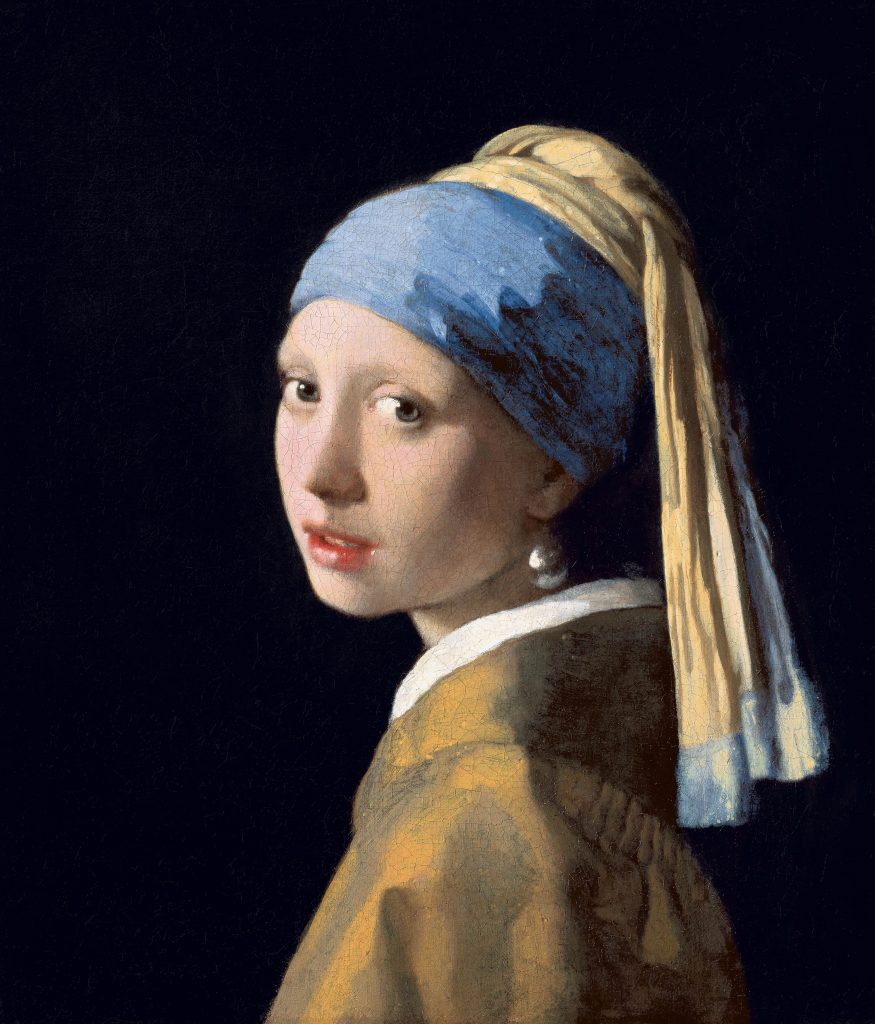Johannes Vermeer facts: Johannes Vermeer, Girl with a Pearl Earring, 1665, Mauritshuis, The Hague, Netherlands.
