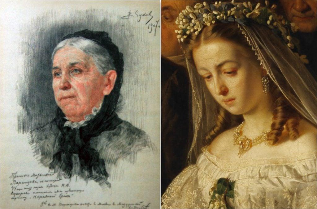 Unequal marriage.Vladimir Sukhov, Praskovya Matveevna Varentsova, 1907, Tretyakov Gallery, Moscow, Russia.Vasili Pukirev, Unequal Marriage, 1862, Tretyakov Gallery, Moscow, Russia.