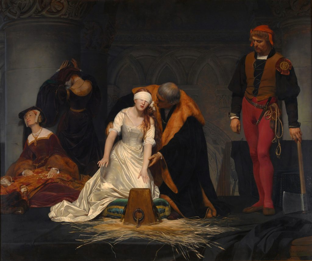 Paul Delaroche, The Execution of Lady Jane Grey, 1833, National Gallery, London, UK. Troubadour Style