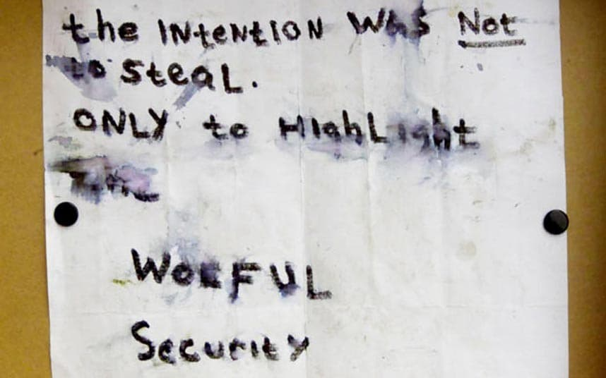 art heists, The note read