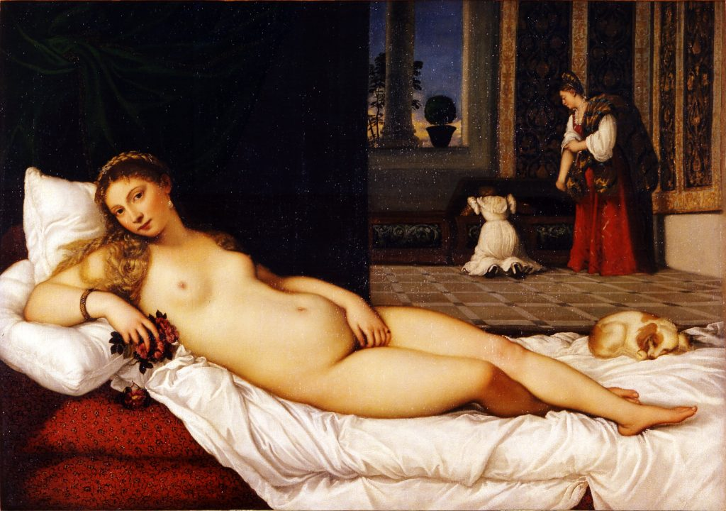 Nude Renaissance white woman reclining on bed with small dog at her feet. In the background are two maids putting clothes away,