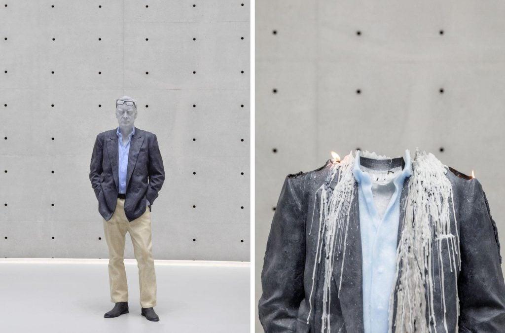 Bourse Museum Paris. Left: Urs Fischer, Untitled (detail), 2011-2020. Right: Urs Fischer, Untitled (detail), 2011-2020.